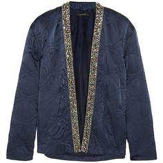 Isabel Marant Jasia embellished silk jacket (€1.770) ❤ liked on Polyvore featuring outerwear, jackets, coats, blue, tailored jacket, isabel marant jacket, sparkly jacket, silk jacket and blue quilted jacket