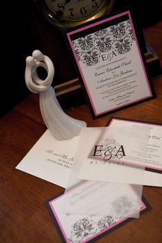 Damask Wedding Invite Hot Pink