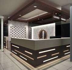 Simple Elegant Cashier Counter by. Cashier Counter Design, Office Counter Design, Shop Counter Design, Office Table Design, Retail Interior Design, Boutique Interior, Cafe Interior, Modern Reception Desk, Reception Desk Design