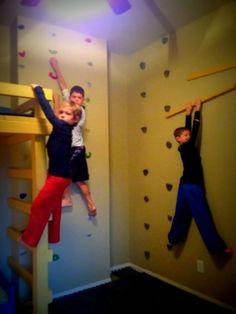 With three boys at home, you can imagine how rough and rowdy it can get around our house….especially during the winter months when they're stuck indoors. My boys are huge American Ninja Warrior fans and we were watching it a few months ago, when they spotlighted one of the athletes who had created an indoor rock climbing area …