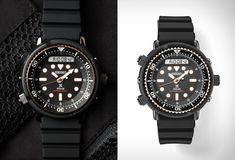 Featuring on action hero Arnold Schwarzenegger's muscular wrist in multiple films (in both Commando, and Predator), the Seiko 1982 Hybrid Diver watch features a technical look as well as solid tech specs including solar charging and Seiko's fam Arnold Schwarzenegger, Rugged Style, Leather Accessories, Scuba Diving, Seiko, Michael Kors Watch, Chronograph, Outdoor Gear, Solar