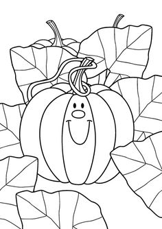Coloriage d'une belle citrouille à imprimer pour Halloween