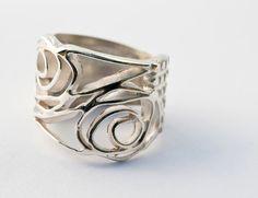Handmade modern Art Nouveau inspired ROSE ring.Sterling silver. $68.00, via Etsy.