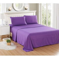 Striped Purple Bedding Sheet Sets | Cotton Striped Sheet Sets | One Purple Stripe Flat Sheets | One Purple Stripe Fitted Sheets  | Two Purple Pillowcases #purplepillowcases #purplestripebeddingsheetsets Fitted Sheets, Flat Sheets, Royal Purple Color, Most Comfortable Sheets, Purple Bedding, Make Your Bed, Cotton Bedding, Bed Sizes, California King
