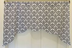 my sweet friend makes these!!  ----> Black and White Damask Valance Curtain Topper. Simple Elegant Touch for Windows.. $40.00, via Etsy.