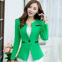medio ½ longitud de la manga de la chaqueta ocasional ordinario de las mujeres (poliéster) – USD $ 32.99