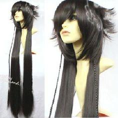 Unique Black Long Pandora Heart Black Rabbit Alice Cosplay Costume Wig SKU-158169