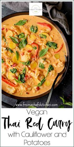 Vegan Thai Red Curry with Cauliflower and Potatoes is spicy and delicious with a side of healthy! It's the perfect veggie-packed meal to warm you up on a chilly fall night you won't feel guilty about! Vegan Thai Red Curry with Cauliflower and Potatoes Tasty Vegetarian Recipes, Healthy Recipes, Vegan Vegetarian, Thai Vegan, Easy Recipes, Healthy Thai Food, Spicy Thai, Thai Curry Recipes, Soup Recipes