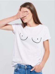 SINSAY - Koszulka z nadrukiem <br><br>Wzrost modelki: 176 cm<br>Rozmiar produktu: M