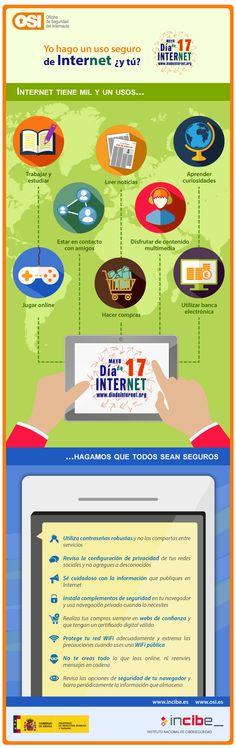 Infografía Yo hago uso de Internet seguro ¿y tú? - 17 mayo Día de Internet