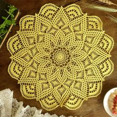 Discover thousands of images about Doily crochet doily Round yellow doily Crocheted doily Lace doily Gift idea Crochet Doily Patterns, Granny Square Crochet Pattern, Crochet Round, Crochet Chart, Thread Crochet, Crochet Doilies, Crochet Lace, Crochet Granny, Crochet Squares