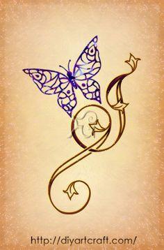 Lettera stilizzata J con farfalla - without the butterfly