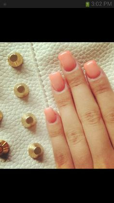 Love the nail color peach light pink nails