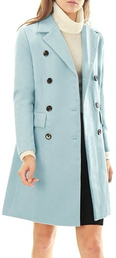 d2a195c4a187 Allegra K Women Notched Lapel Double Breasted Wool Blended Long Coat.  https://