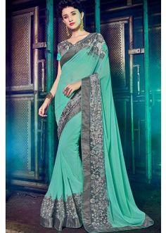 couleur cyan georgette saree, -  109,00 €,  #Sariindienmariage  #Sarimariage  #Sariindien  #Robeindienne  #Sariindien2017  #Tenueindienne  #Shopkund