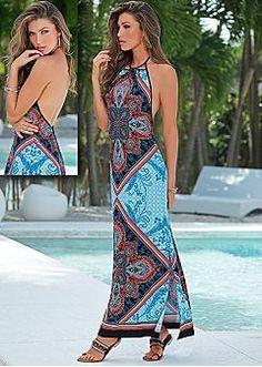 VENUS Dresses - Maxi, Halter, Dressy Styles & More  |  Printed Halter Maxi Dress and Embellished Sandal