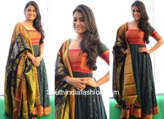 Pandey in Teja Sarees For her new movie movie launch event, actress Shalini Pandey wore a handloom anarkali paired with kanjeevaram dupatta. She finished off her look with side swept waves! anarkali from saree, saree dress, anarkali with pattu dupatta Long Gown Dress, Sari Dress, Anarkali Dress, Long Frock, Lehenga, Anarkali Patterns, Salwar Pattern, Teja Sarees, Silk Dress Design
