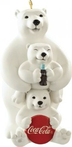 Coca Cola Polar Bear Family - Porcelain - Carlton Heirloom Ornament 2013