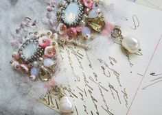 Shabby chic textile earrings Embroidered lace by PintOfTint