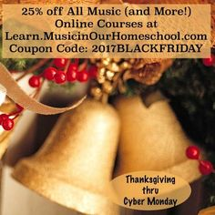 Music in Our Homeschools Every course will be 25% off with coupon code. Today through Monday. Check out all our other sales! High School and elementary online music courses. Music Courses, Cyber Monday Sales, Homeschool Curriculum, Homeschooling, Christmas Music, Black Friday, Frugal, Giveaways, Coupons