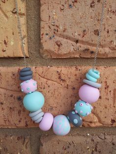 Polymer Clay Bead Necklace Statement Pastel by EmbellishHandmade