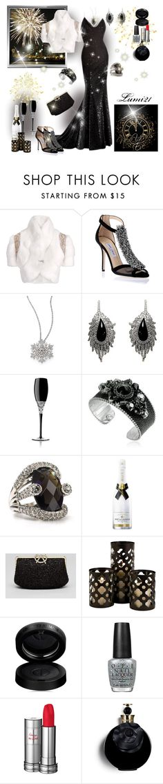 """happy new year!"" by lumi-21 ❤ liked on Polyvore featuring Matthew Williamson, Jimmy Choo, Adriana Orsini, Elise Dray, Waterford, REMINISCENCE, ABS by Allen Schwartz, Kate Spade, GAB and OPI"