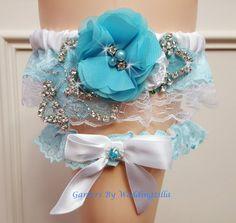 Aqua Blue Wedding Garter Set/ White Lace Bridal by Weddingzilla Crystal Wedding, Blue Wedding, Garter Belt Wedding, Elegant Bride, Bridal Salon, Satin Flowers, Bridal Lace, Aqua Blue, Wedding Designs