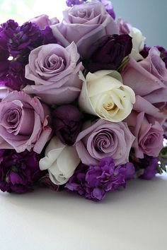light purple roses... I really like the idea of a purple, white, and green(ish) color wedding. been kinda leaning towards it for mine.