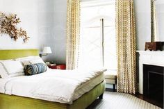 modern bedroom windows | Cool window treatments green yellow modern bedroom design with green