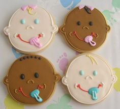 BABY FACE Decorated Cookie Favors Baby Shower by lorisplace