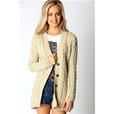 Boohoo Women's Lucy Cable Knit Cardigan (Stone)