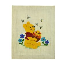 I love this vintage, hand embroidered Winnie-the-Pooh wall hanging. This needlework is expertly and the colors of yellow, red, blue, and Vintage Gifts, Etsy Vintage, Vintage Toys, Vintage Stuff, Vintage Wall Art, Vintage Home Decor, Vintage Kitchen, Vintage Sewing Rooms, Storybook Characters