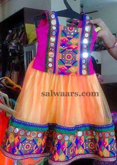 Lambada Work Peach Lehenga - Indian Dresses Kids Frocks, Frocks For Girls, Indian Dresses, Indian Outfits, Pinafore Pattern, Frocks And Gowns, Kids Ethnic Wear, Little Girl Dresses, Baby Dresses