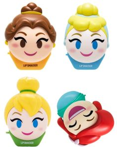 Lip Smacker Emoji Lip Balm 4 Pack featuring Belle, Cinderella, Tinkerbell, and Ariel! Shimmer Lip Gloss, Pink Lip Gloss, Pink Lips, Purple Lipstick, Lipstick Colors, Chapstick Lip Balm, Eos Lip Balm, Lip Balms, Disney Stockings