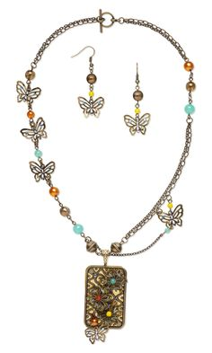 Jewelry Design - Double-Strand Necklace and Earring Set with Antiqued Gold-Plated Steel Focal and Czech Glass Beads - Fire Mountain Gems and Beads