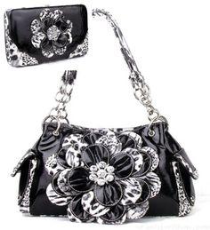 Black Zebra Leopard Cheetah Flower Rhinestone Fashion Handbag Purse Wallet Combo