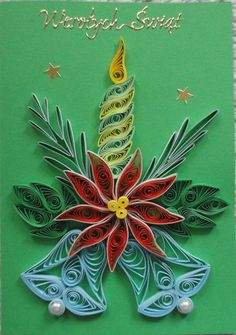Quilled poinsettia with two tone leaves, gold glit - Quilling Ideas Neli Quilling, Paper Quilling Cards, Quilling Letters, Paper Quilling Flowers, Paper Quilling Patterns, Paper Quilling Jewelry, Quilled Paper Art, Quilling Craft, Toilet Paper Crafts