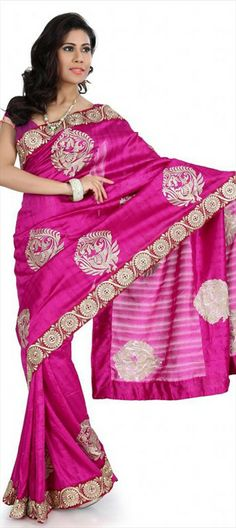 132842, Party Wear Sarees, Silk, Bhagalpuri, Patch, Border, Thread, Pink and Majenta Color Family