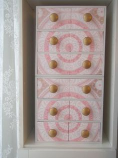 Pretty wallpapered drawers