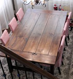 Farmhouse Table | Do It Yourself Home Projects from Ana White (A brag post). These people included some hints from what they learned while building it.