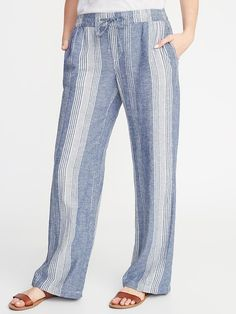Mid-Rise Wide-Leg Linen-Blend Pull-On Pants for Women | Old Navy