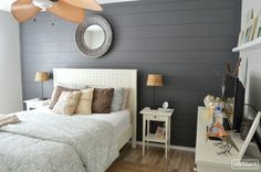 I LOVE the look of shiplap but unfortunately we don't have that in our builder basic home, so I used some budget-friendly supplies to install some ourselves in…