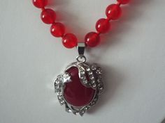 "$12.99 Ruby Red Jade Beads & Pendant Clear Crystals 18 ""  #RubyRedGemstoneNecklacewithPendant #DayandveningWear"