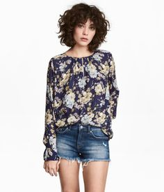 Long-sleeved Blouse | Dark blue/floral | Women | H&M US