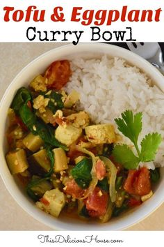 Healthy Tofu Eggplant Curry is vegan and vegetarian friendly. This quick curry recipe comes together in less than 30 minutes. #tofucurry #eggplantcurry
