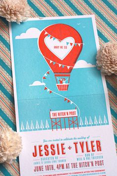 Fun wedding invite by Jessie & Tyler of One Plus One Design. This can also be used as a birthday or kids party invitation.