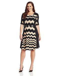 Julian Taylor Women's Plus-Size Short Sleeve V Neck Zig Zag Dress     #Dress, #Julian, #Neck, #PlusSize, #Short, #Sleeve, #Taylor, #Womens