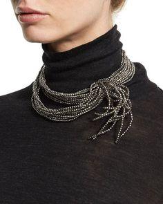 J9302 Brunello Cucinelli Multi-Strand Hematite & Steel Wave Choker Necklace