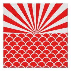 Red Rising Sun Japanese inspired pattern Poster