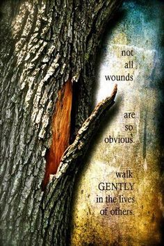 Not all wounds are so obvious, walk gently in the lives of others. Some people seem to think having the ability to say something is the same as having the right too. WORDS MEAN THINGS!